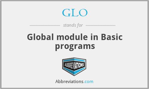 GLO - Global module in Basic programs