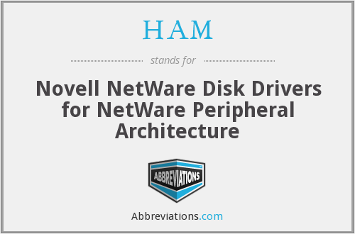 HAM - Novell NetWare Disk Drivers for NetWare Peripheral Architecture