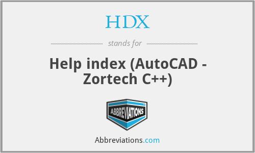 HDX - Help index (AutoCAD - Zortech C++)