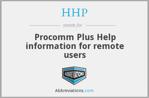 HHP - Procomm Plus Help information for remote users