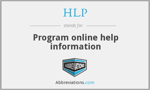 HLP - Program online help information