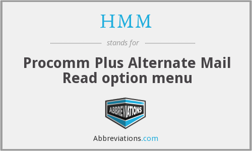 HMM - Procomm Plus Alternate Mail Read option menu