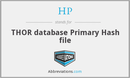 HP - THOR database Primary Hash file
