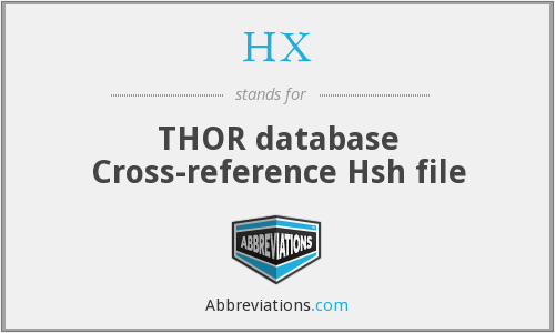 HX - THOR database Cross-reference Hsh file