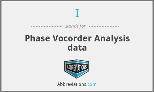 I - Phase Vocorder Analysis data