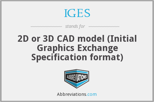 IGES - 2D or 3D CAD model (Initial Graphics Exchange Specification format)