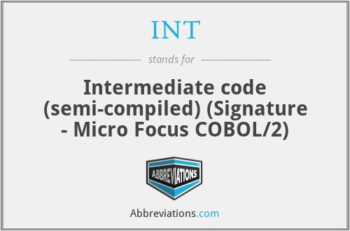 INT - Intermediate code (semi-compiled) (Signature - Micro Focus COBOL/2)