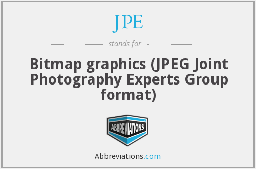 JPE - Bitmap graphics (JPEG Joint Photography Experts Group format)