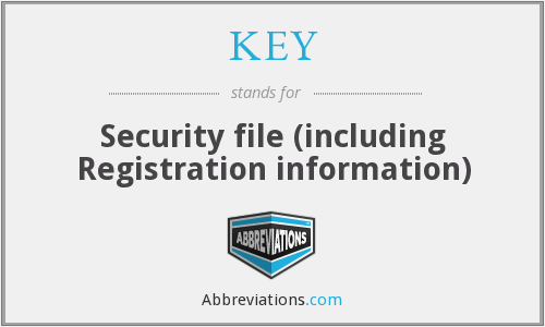KEY - Security file (including Registration information)
