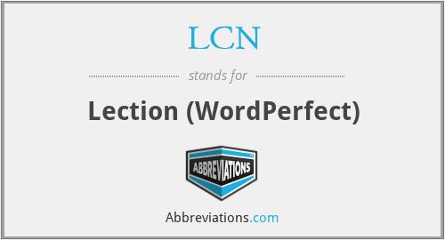 LCN - Lection (WordPerfect)