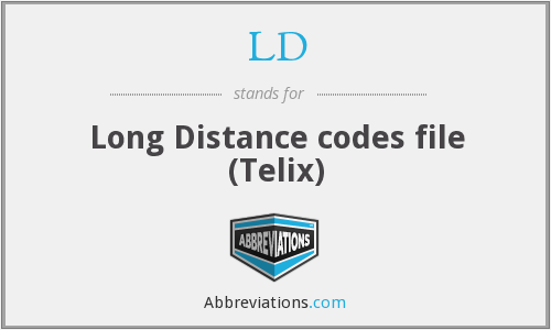 LD - Long Distance codes file (Telix)