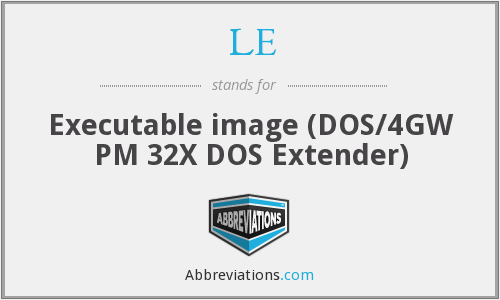 LE - Executable image (DOS/4GW PM 32X DOS Extender)