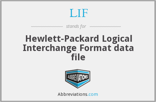 LIF - Hewlett-Packard Logical Interchange Format data file
