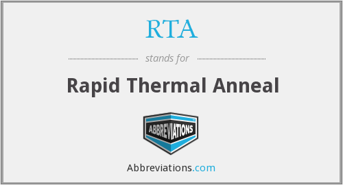 RTA - Rapid Thermal Anneal