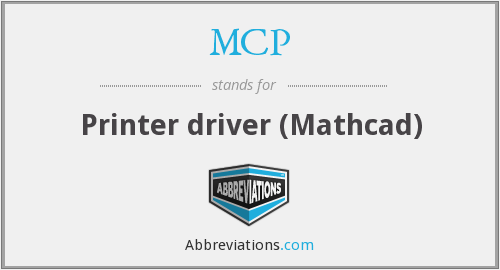 MCP - Printer driver (Mathcad)