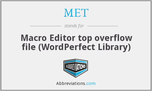 MET - Macro Editor top overflow file (WordPerfect Library)