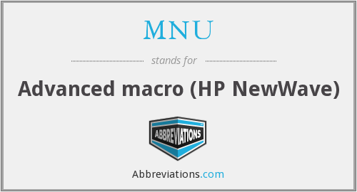 MNU - Advanced macro (HP NewWave)