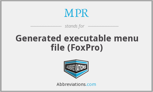 MPR - Generated executable menu file (FoxPro)