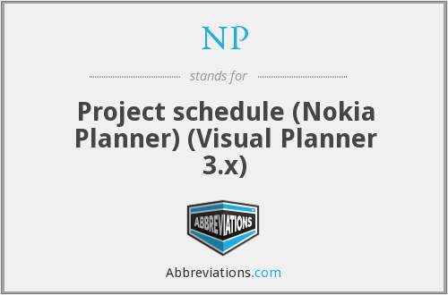 NP - Project schedule (Nokia Planner) (Visual Planner 3.x)