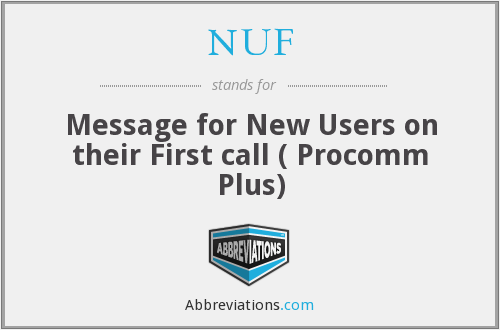 NUF - Message for New Users on their First call ( Procomm Plus)