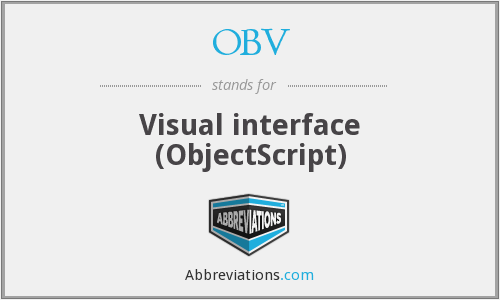 OBV - Visual interface (ObjectScript)