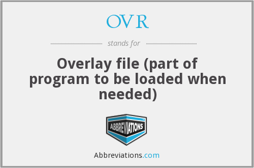 OVR - Overlay file (part of program to be loaded when needed)