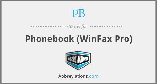 PB - Phonebook (WinFax Pro)