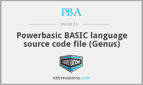 PBA - Powerbasic BASIC language source code file (Genus)
