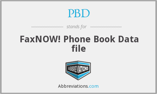 PBD - FaxNOW! Phone Book Data file