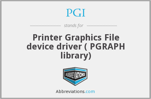 PGI - Printer Graphics File device driver ( PGRAPH library)