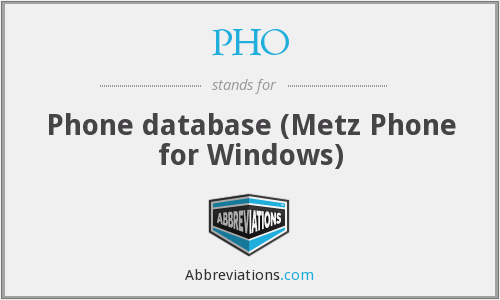 PHO - Phone database (Metz Phone for Windows)