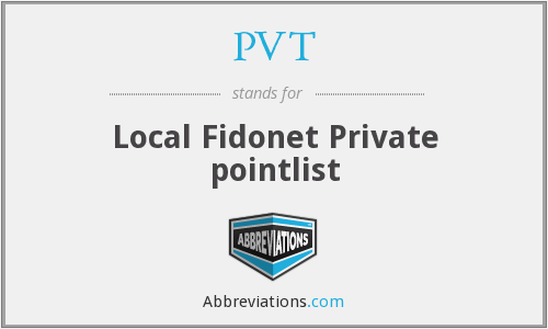 PVT - Local Fidonet Private pointlist