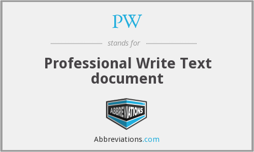 PW - Professional Write Text document