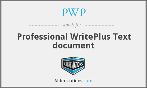 PWP - Professional WritePlus Text document
