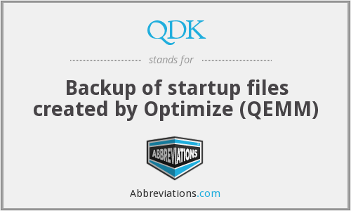 QDK - Backup of startup files created by Optimize (QEMM)