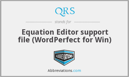 QRS - Equation Editor support file (WordPerfect for Win)