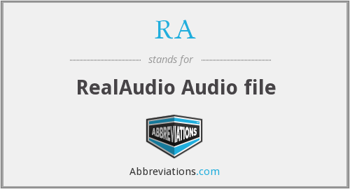 RA - RealAudio Audio file