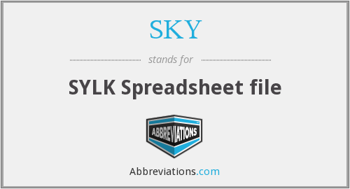SKY - SYLK Spreadsheet file