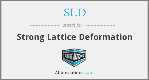 SLD - Strong Lattice Deformation