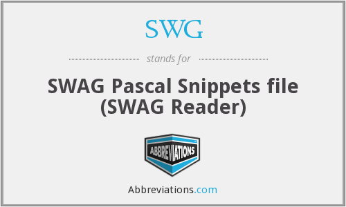 SWG - SWAG Pascal Snippets file (SWAG Reader)