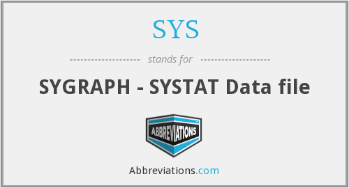 SYS - SYGRAPH - SYSTAT Data file