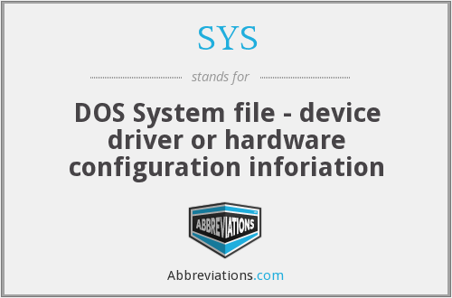 SYS - DOS System file - device driver or hardware configuration inforiation