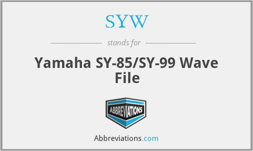 SYW - Yamaha SY-85/SY-99 Wave File