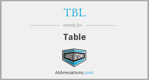 What does TBL stand for?
