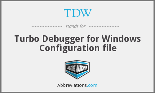 TDW - Turbo Debugger for Windows Configuration file