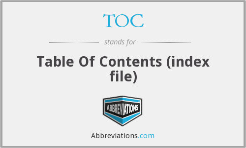 TOC - Table Of Contents (index file)