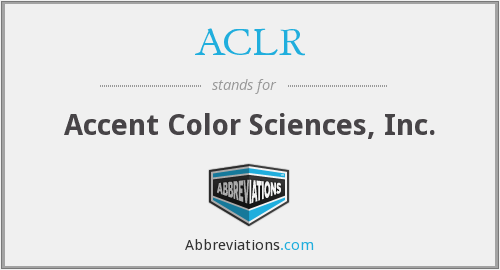 ACLR - Accent Color Sciences, Inc.