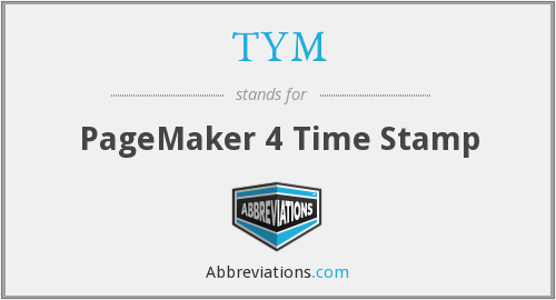 TYM - PageMaker 4 Time Stamp