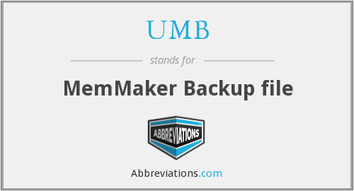 UMB - MemMaker Backup file