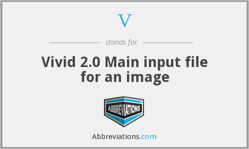 V - Vivid 2.0 Main input file for an image